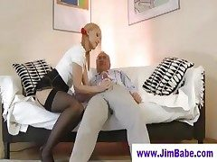 Blonde in mini dame and old man