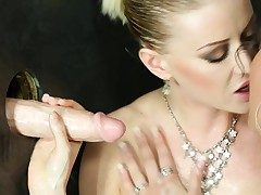 Natalia Broox together with Vicktoria Redd get bukkake