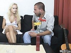 Blondie mega-slut cheats her Boyfriend with his brutha