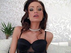 Hanker legged brunette Sophie Lynx on touching chap-fallen black underthings loves